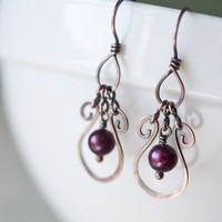 Drop Earrings, Purple Freshwater Pear dangle in a Hammered Copper Frame