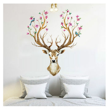Happy Gifts 3D Plum Flower Deer Wall Stickers For Kids Rooms Living Room Bedroom Home Christmas Decor DIY Decoration Removable