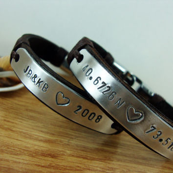 FREE SHIPPING - Couple Personalized Bracelet,Men Bracelet.Hand Stamped Bracelet,Coordinates Bracelet.Valentine gift. Men's Leather Bracelet.