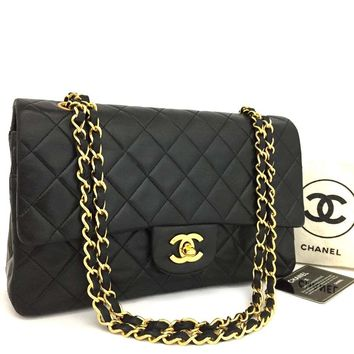 CHANEL Double Flap 25 Quilted CC Logo Lambskin w/Chain Shoulder Bag Black/oBAF x