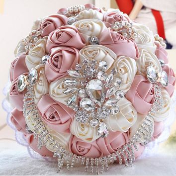 Handmade Elegant Decorative Artificial Bride Bridesmaid Crystal Wedding Bouquet Flower
