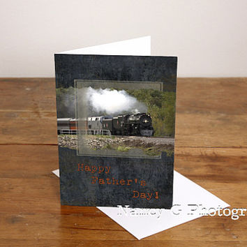 "Greeting Card, Note Card, Steam Train, Fathers Day Card, Fine Art, 5""x7"", Card, Greeting Cards, Paper Goods, Stationary"