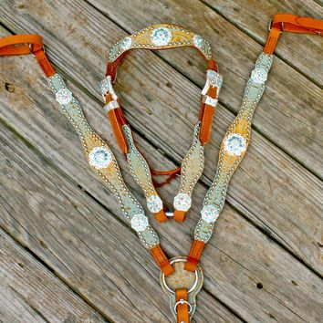 Tan & Teal Gator/Tan Leather Browband Tack Set w/ AB & Turquoise Crystal Rhinestone Conchos