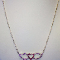 Ruby and Amethyst Heart and Wings Pendant on 925 Sterling Silver Chain