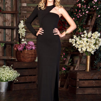 Long Black Dress Maxi, Special occasion sexy Dress, One Shoulder Formal Dress, Evening gowns, Long Evening dress, One Sleeve Dress, designer