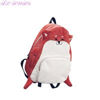 Six senses Women Canvas Backpacks cute animal print girls school bags casual backpack mochila fox cartoon cute women bag,CJ0139