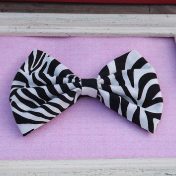 Large zebra print bow.    Fabric bows for girls, teens, and adults.          ~FABRIC BOW DEPOT~