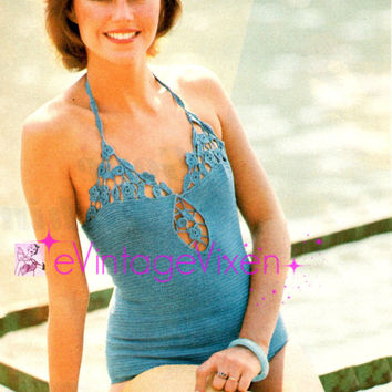 Instant Download Sexy 1970s Flower Top Bathing Suit Maillot Vintage Crochet Pattern Retro One Piece Swimsuit Onepiece Swimwear Vintage Beso
