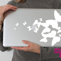 Flutterbies laptop vinyl decal/sticker in WHITE by stickypic