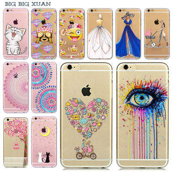 "Phone Case Cover For iPhone 6 6S 4.7"" Girl Cat Floral Paisley Flower Mandala Henna Soft TPU Transparent Colorful Patterns Cover"