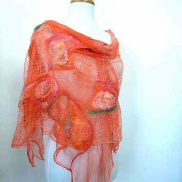 Funky Scarves. Orange Coral Cotton Fashion Wrap. Large Scarf