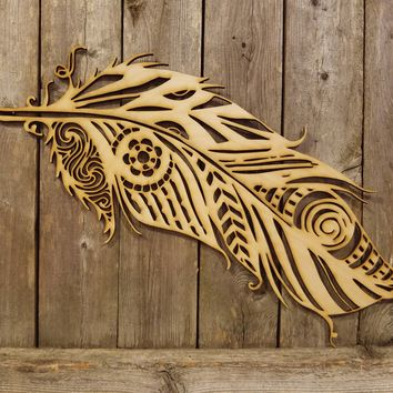 Fancy Decorative Feather- laser cut wood sign