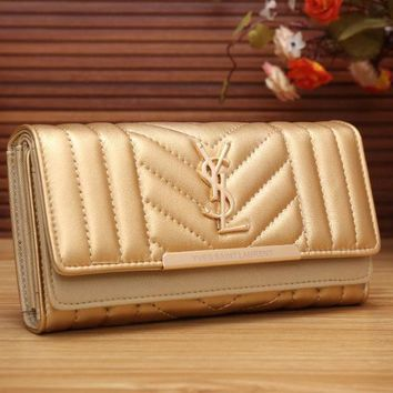 YSL Yves Saint Laurent Women Fashion Shopping Leather Buckle Wallet Purse