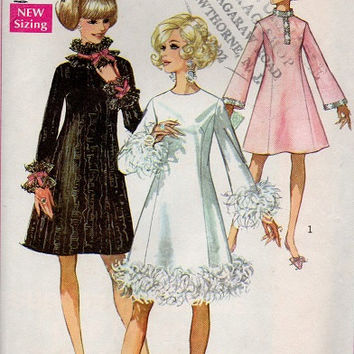 Simplicity Retro Go Go Dress 60s Sewing Pattern A-line Long Sleeve High Collar Neck Ruffle Cuffs Hem Party Cocktail Dress Bust 34