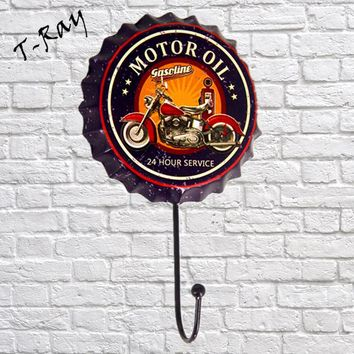 Motor oil 24 hours service Beer Cap Shape Vintage Hook clothes hook Hanger Multi-use Wall Hook Coat & Hat Wall Decoration BH02