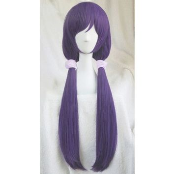 High quality Anime LoveLive! Love Live Nozomi Tojo Wigs Halloween Synthetic Hair Long Purple Cosplay Costume Wig +Pink Hairbands