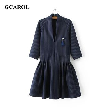 GCAROL Women New Arrival V-neck Striped Dress With A Brooch 3/4 Sleeve Elegant OL Dress Fit And Flare Vintage Pleated Dress