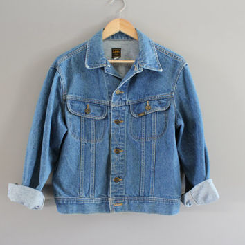 Us Free Shipping Lee Storm Rider Denim Trucker Jacket 90s Vintage Hipster size L (40) #O107A