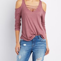 Ribbed Cold Shoulder Caged Top