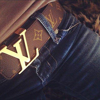 "LV ""Louis Vuitton"" Stylish Smooth Buckle Monogram Leather Belt I"