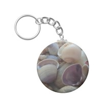 Sunny Summer Seashells, Sea Shell Beach Ocean Basic Round Button Keychain