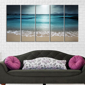 Large Wall Art Turquoise Sea Waves and Turquoise Sunset Canvas Art Prints For Wall - Large Art Canvas Printing - Wall Art Canvas