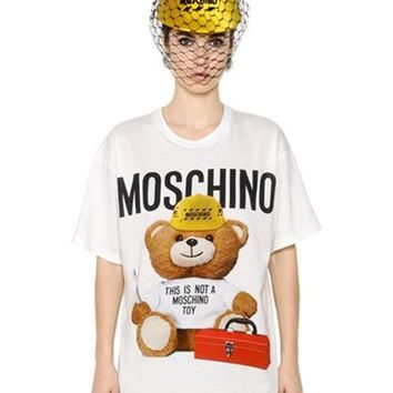 "Hot Sale Moschino ""Tools Bear"" Fashion Women T Shirt Loose Short Sleeves"