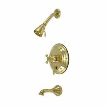 CREYONV elements of design eb36320ax new orleans polished brass pressure balanced tub and shower faucet with metal cross