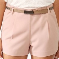 Solid Pocket Shorts w/ Studded Belt