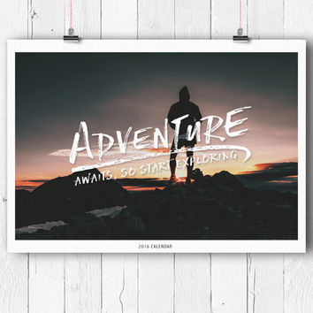 2016 Adventure Wall Calendar, Explore, Gift, Christmas, Photo, Retro, Nature, Spiral bound, Limited edition of 50
