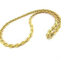 Vintage Mens Chunky Gold Chain Necklace (Large Flat Braided Textured Links, Gold Plated Chain, 1970s Mid Century Modern, Cool Mens Jewelry)