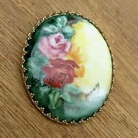 Antique Limoges Hand Painted Artist Signed Porcelain Brooch Pin