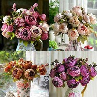 Artificial Peony Silk Flower Bouquet Home Party Wedding Decoration
