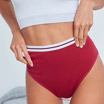 Out From Under Leo Cotton Red High-Waisted Panty   Urban Outfitters