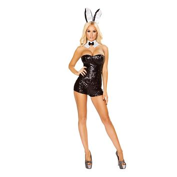 Roma Costumes Halloween Party Womens 3 Piece Glamorous Bunny Black - Extra Large