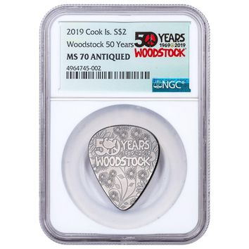 2019 Cook Islands 1/4 oz Silver Woodstock Guitar Pick Shaped Coin NGC MS-70