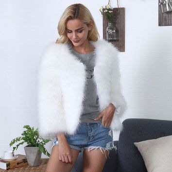 Women Faux Fur Ostrich Feather Soft Fur Coat Jacket Fluffy Winter Xmax Overcoat
