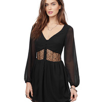 V-neck Lace Accent Long Sleeve A-Line Mini Pleated Dress
