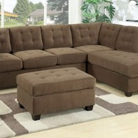 F7140 - Waffle Suede Truffle Sectional Sofa - Furniture2Go