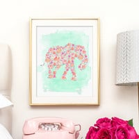Watercolor Elephant with Pink Flowers, Printable Art, Nursery Decor - INSTANT DOWNLOAD