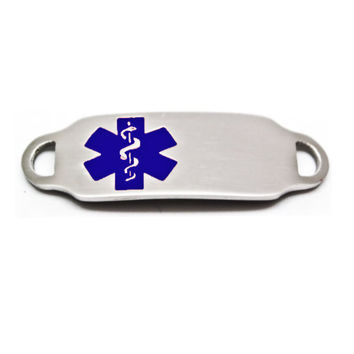 Engraved Stainless Steel Rectangle Medical Bracelet ID Tag - Blue