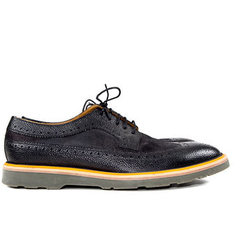 Black/Orange Leather Wing Tip Shoes Size:43