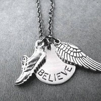 RUN BELIEVE FLY Round Pendant Necklace on 18 inch Gunmetal Chain - Pewter Shoe and Wing - Hand Stamped Nickel Silver Round BELIEVE Charm