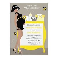 """Bumble Bee Baby Shower Invitations - African Ameri 5"""" X 7"""" Invitation Card"""