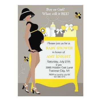 "Bumble Bee Baby Shower Invitations - African Ameri 5"" X 7"" Invitation Card"
