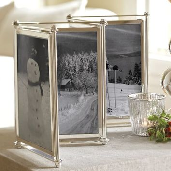 ACCORDION SCREEN SILVER-PLATED FRAME