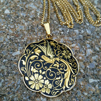 Vintage Black and Gold Enamel Cloisonne Style Flower Bird Pendant Necklace - Boho Chic / Art Deco / Retro Chic / Gift / Statement / Stylish