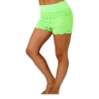Crochet lace layered shorts with banded waist, Neon Green. (Size S/M)
