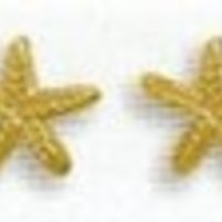 14K Gold Plated Sterling Silver Starfish Post Stud Earrings, 1/4 inch