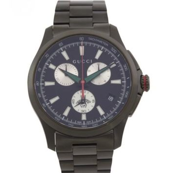 GUCCI Mens Swiss Made G-Timeless Chronograph XL Black Dial Watch RETAIL $1400 a1